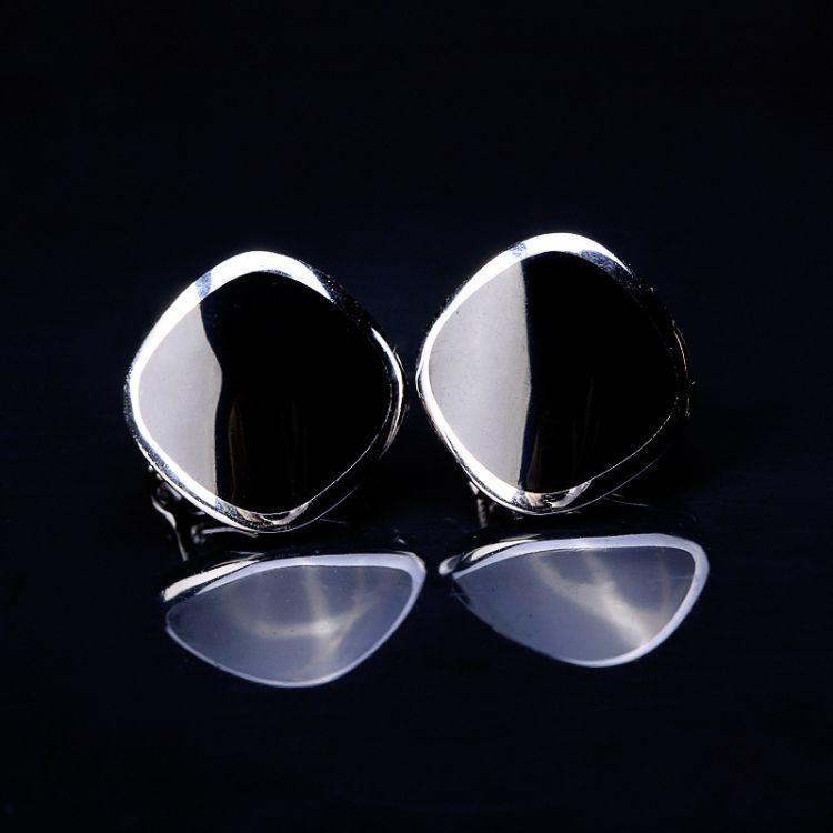 人品银品 泰银批发女式配饰925纯银黑色烤漆耳扣 文艺范小清新