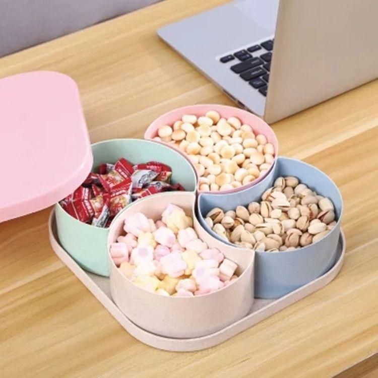 小麦秸秆多格糖果盒零食盘子带盖结婚过年干果盒独立分格水果盘