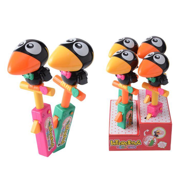 地摊热销 展示盒装儿童公仔大嘴鸟鸟模仿秀录音鸟 学舌鸟录音玩具