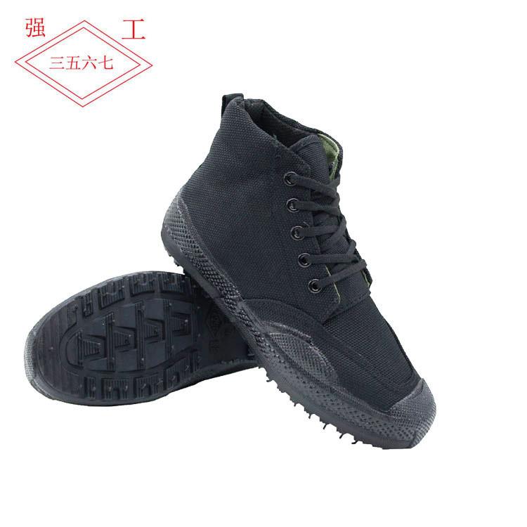 批发作训鞋黑色解放鞋男高腰双层底迷彩鞋胶鞋学生军训鞋