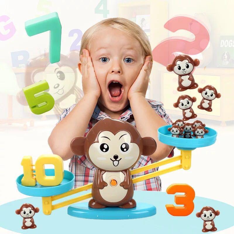 抖音同款网红海草猪小狗天平秤玩具 儿童益智数字加减砝码数学秤