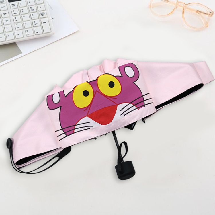 创意韩国粉红豹五折手动遮阳伞小清新黑胶防紫外线晴雨防晒太阳伞