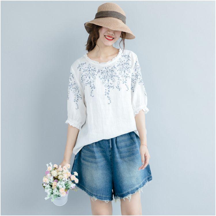 纯棉刺绣上衣大码女装夏季新韩版宽松大码胖mm五分袖荷叶边T恤