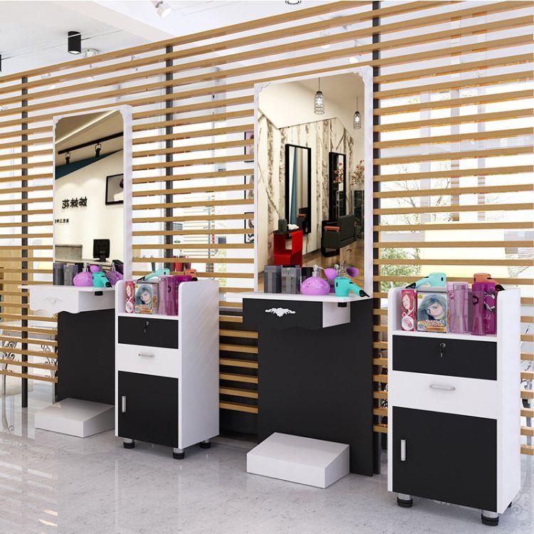 美发店理发店镜台单双面化妆镜子带柜美容美发化妆镜台梳妆台