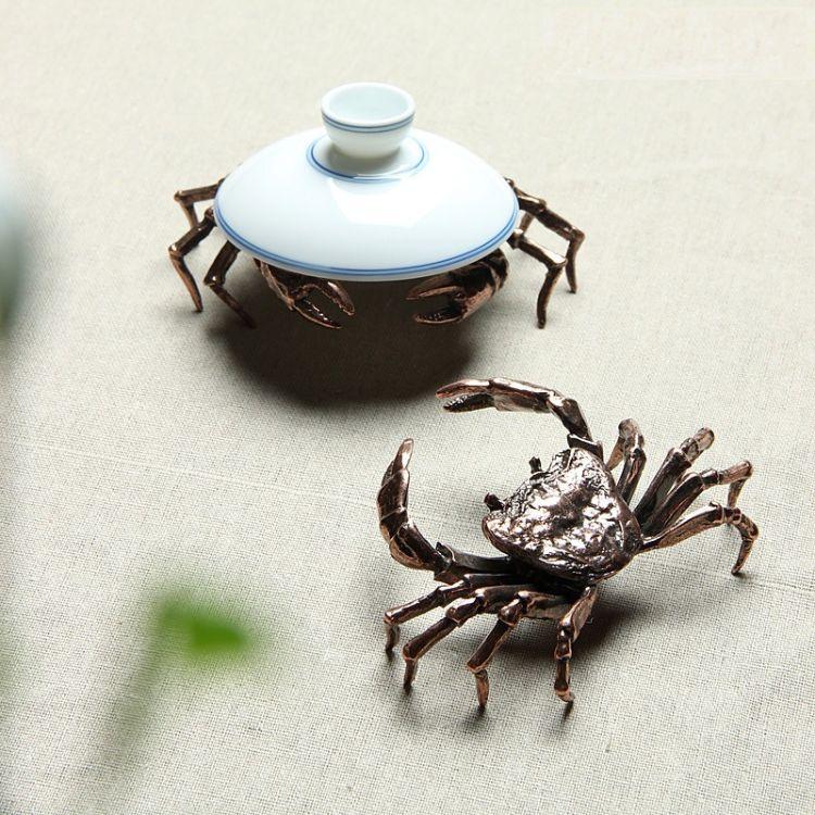 茶宠摆件螃蟹壶盖置 精品创意茶器茶玩茶道具配件铁壶紫砂壶盖托