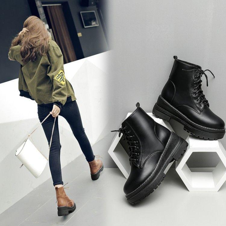 2018秋季新款女靴短筒靴马丁靴坡跟松糕底漆皮系带百搭女靴wish鞋
