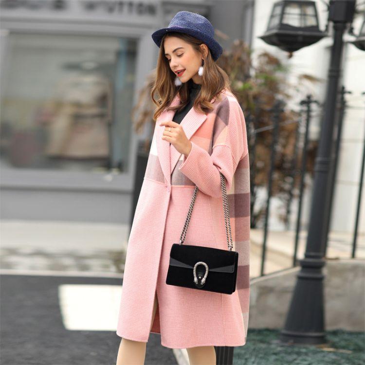 2018新款冬季天韩版千鸟格拼接格子长款双面羊绒大衣宽松大码女装