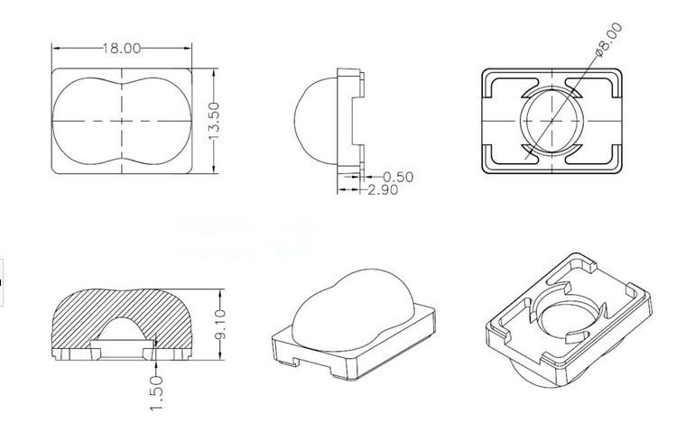 单颗透镜、灯具透镜、 椭圆光斑led透镜