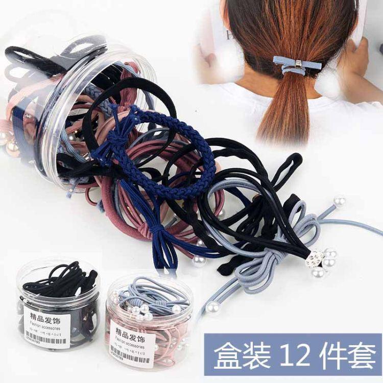盒装头绳女韩国小清新简约个性扎头发橡皮筋成人发卡发绳发圈头饰