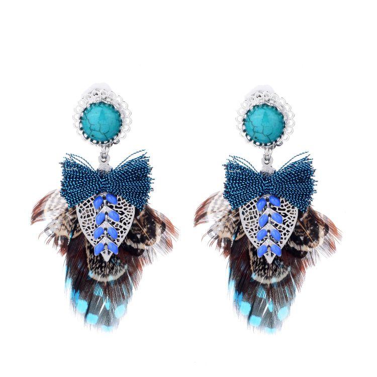 佳莎 手工创意蝴蝶结造型羽毛镶松石不锈钢耳夹 民族风格 jse865