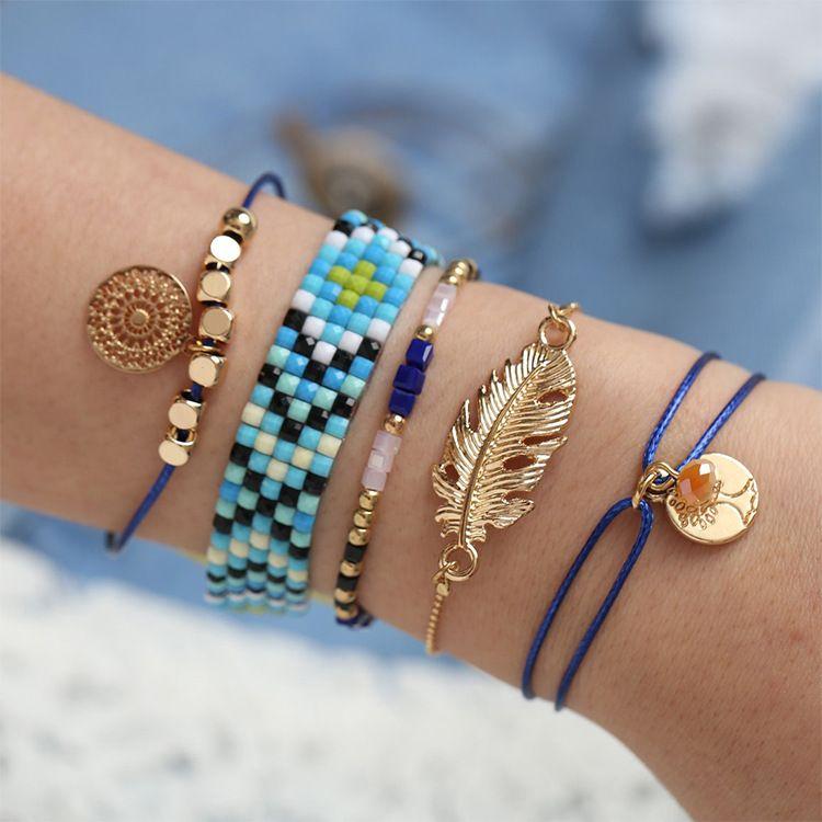 友谊手链原创组合套装5件套女夏季蓝色系水晶珠羽毛蜡绳手工编织
