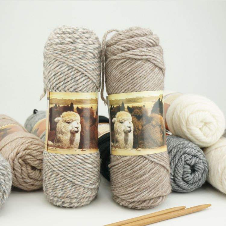编格尔秘鲁羊驼毛复古棒针围巾线素色手工编织外套披肩毛衣线批发