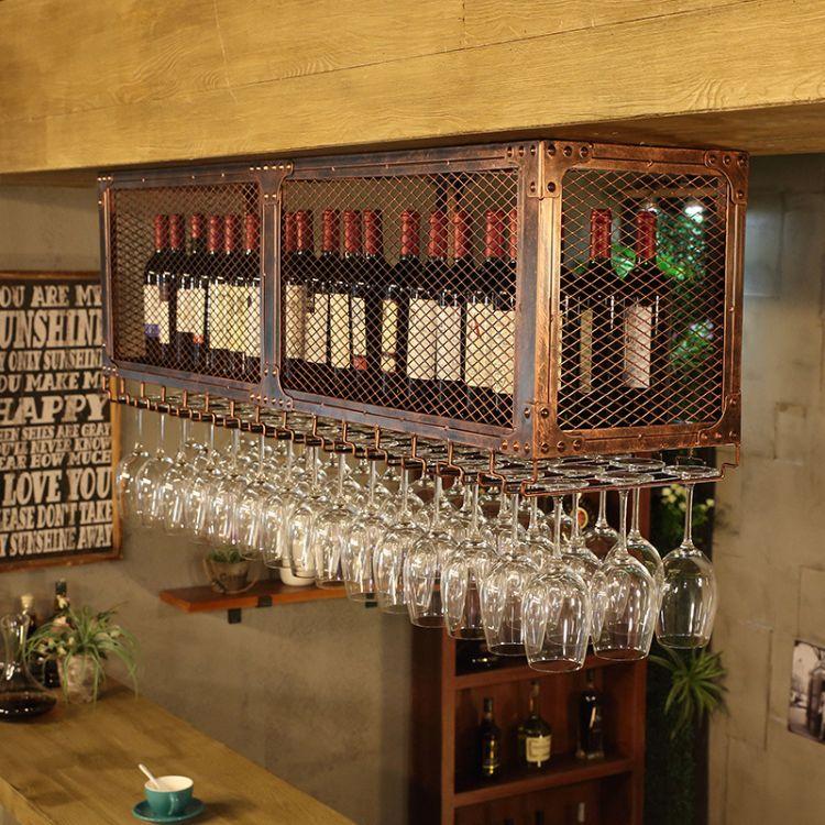 创意酒杯架倒挂酒杯架杯架吧台悬挂高脚杯架酒吧红酒架红酒架摆件