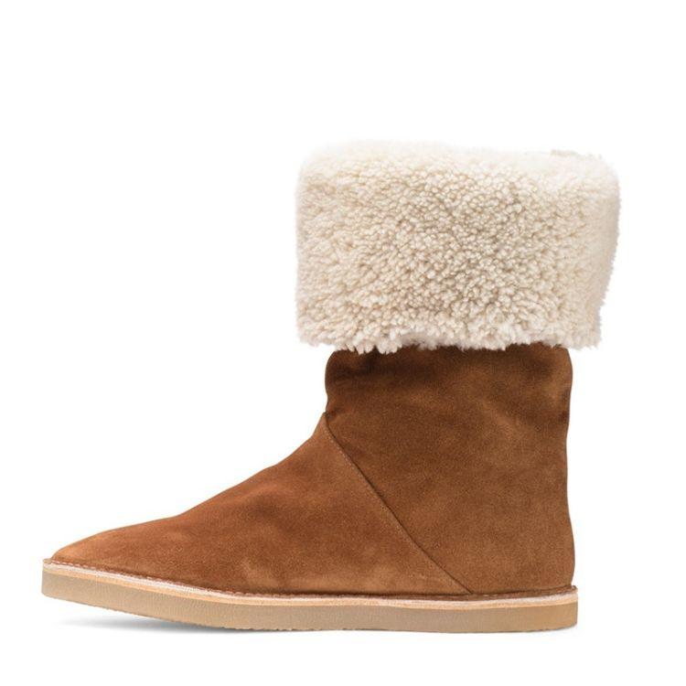 2018冬季新款真皮加绒女短筒靴皮毛一体雪地靴棉鞋东莞女鞋厂批发
