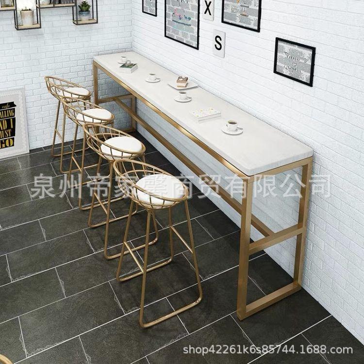 咖啡厅清吧休闲吧凳北欧铁艺吧台桌椅酒吧高脚凳现代简约吧台椅子
