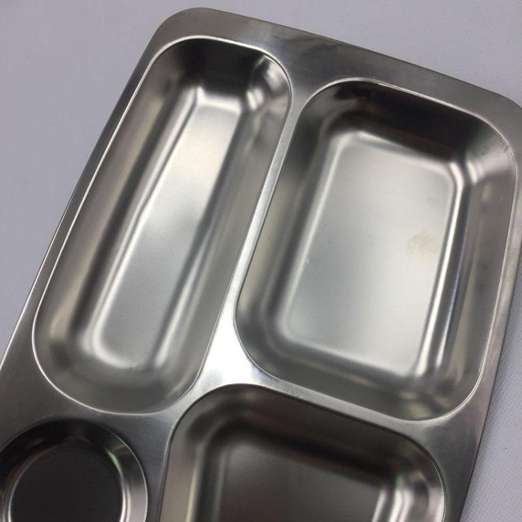 不锈钢加深带盖方形快餐盘快餐盒 分格带盖便当盒厂家直销