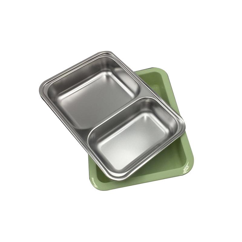 不锈钢加深带盖方形快餐盘快餐盒 分格带盖便当盒易帮客厂家直销圆滑边角实用又上镜