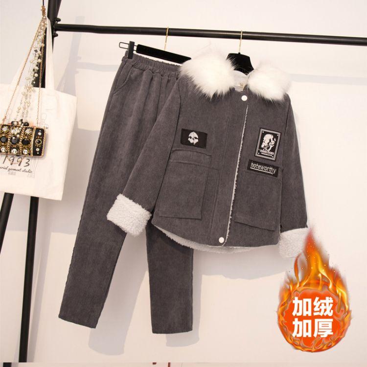 大码女装2018秋冬季新款胖mm修身显瘦减龄开衫灯芯绒女套装两件套