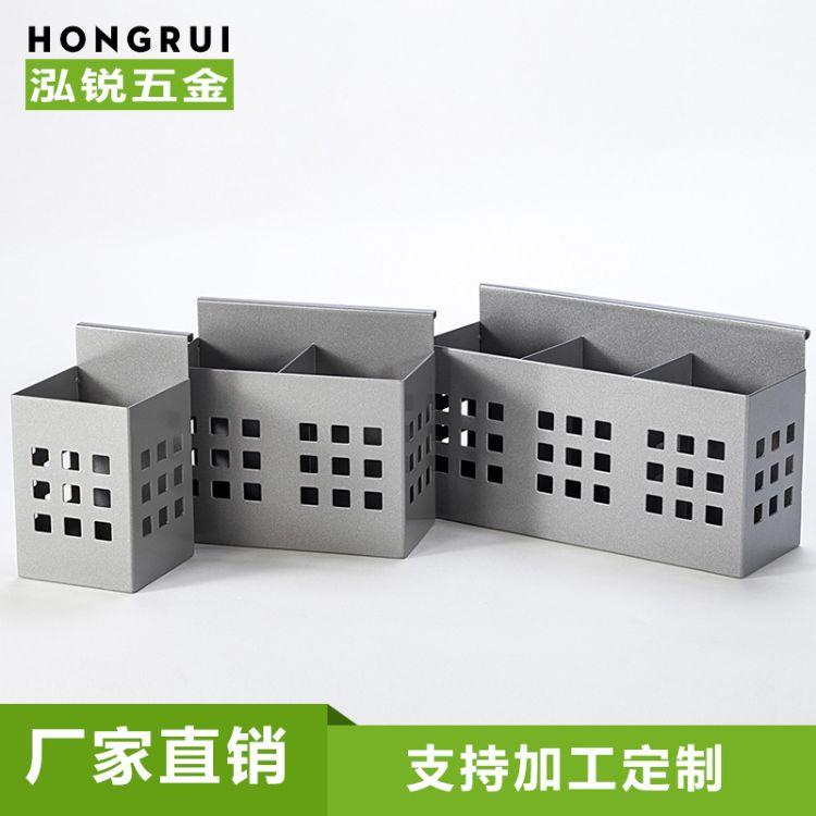 办公桌面收纳笔盒钢制屏风工位挂件收纳桶一 二 三格笔筒