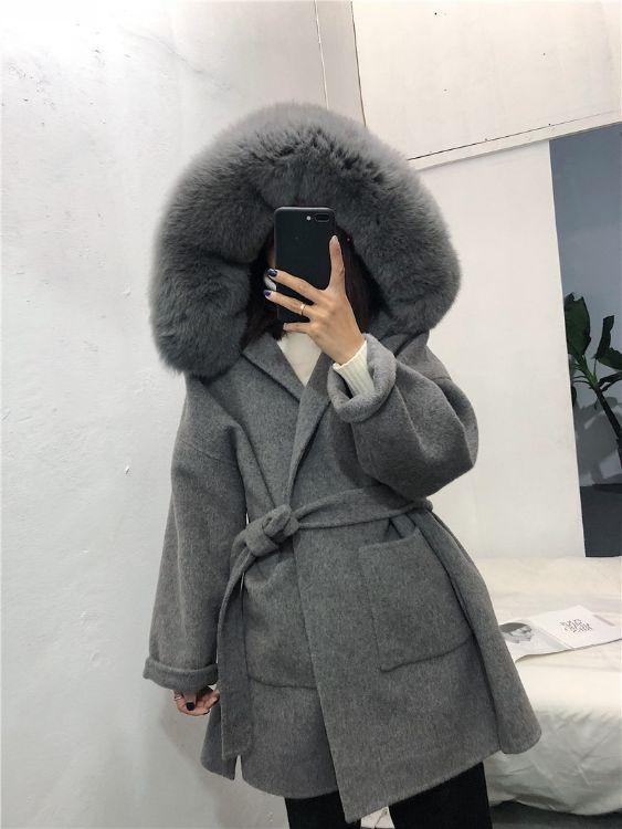 2018新款百分百羊毛大衣 真皮草狐狸毛毛领可脱卸 长款呢大衣宽松