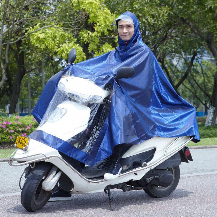 定制颈部防护提花布电瓶车雨衣 加大帽檐摩托车 连体雨衣批发