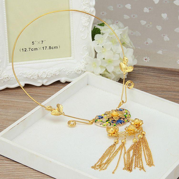 玄龄金色古装新娘项链古典秀禾缨络项圈汉服结婚配饰
