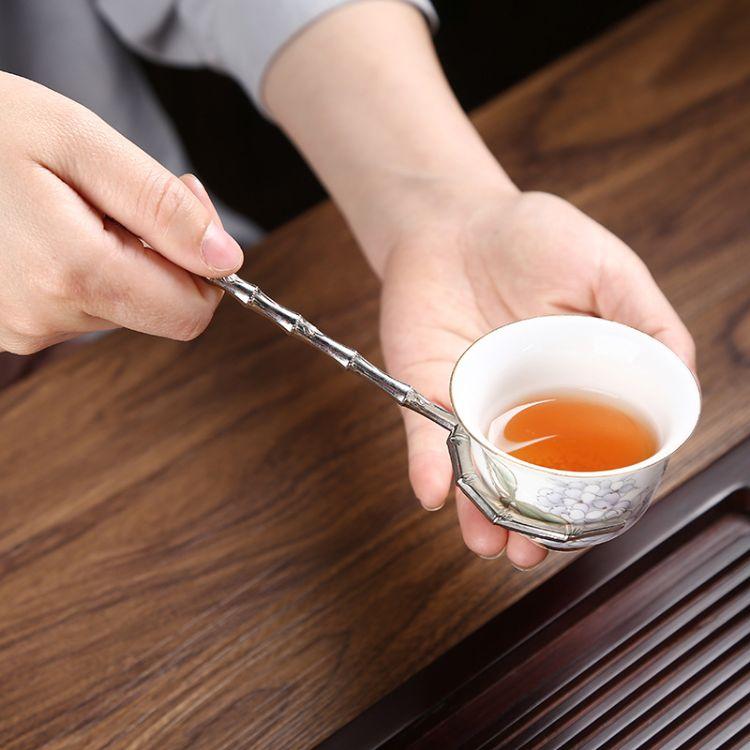 忠艺信 竹制防烫茶杯叉 塑料叉子 小品茗杯托 功夫茶道 茶艺茶具配件 泡茶工具