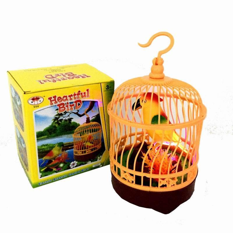 厂家直销仿真声控圆形鸟笼声控小鹦鹉单鸟带灯光电动声控玩具批发