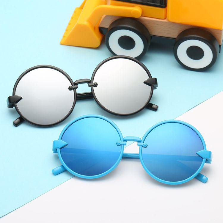 2018新款欧美复古圆形儿童太阳眼镜 箭头潮流墨镜 儿童眼镜