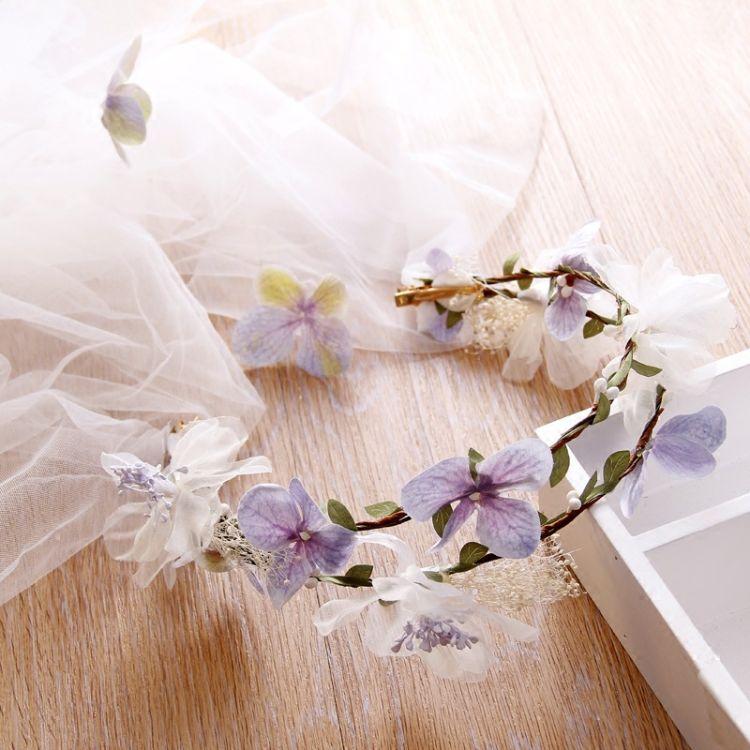 韩式甜美森系新娘花环头纱米白色头花头饰手工发饰婚纱礼服配饰品