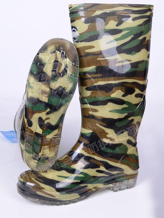 批发PVC迷彩雨靴水靴工矿靴水鞋防水防油防酸碱耐磨订制印字