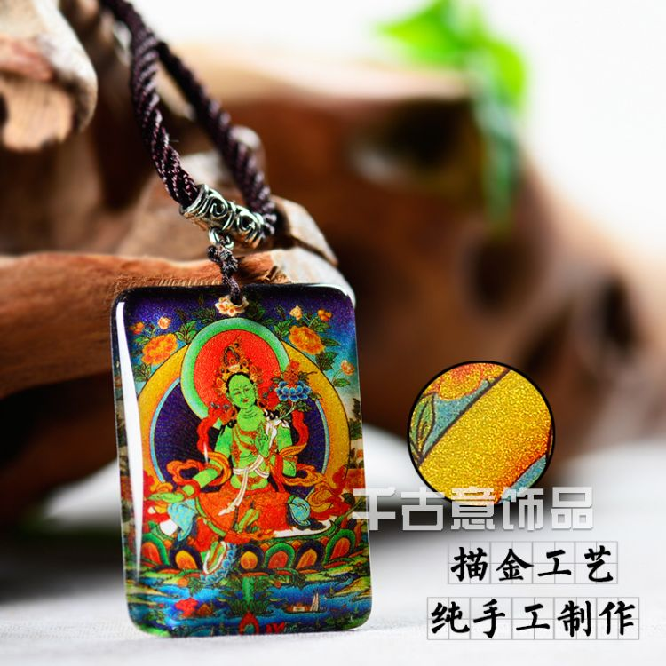 唐卡手工描金绿度母水晶佛像挂件吊坠佛教结缘护身符项链男女定制