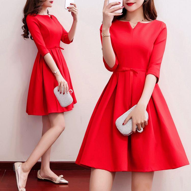 敬酒服新娘2018秋冬新款结婚礼服红色回门连衣裙订婚礼服一件代发