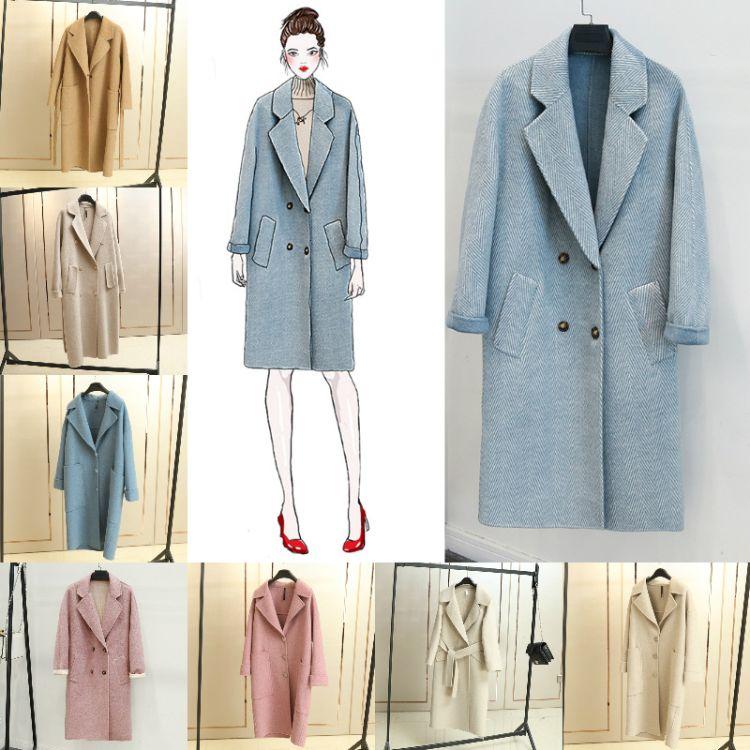 外贸热销秋冬新款毛呢大衣外套 加厚保暖修身长款 女装西装大衣女