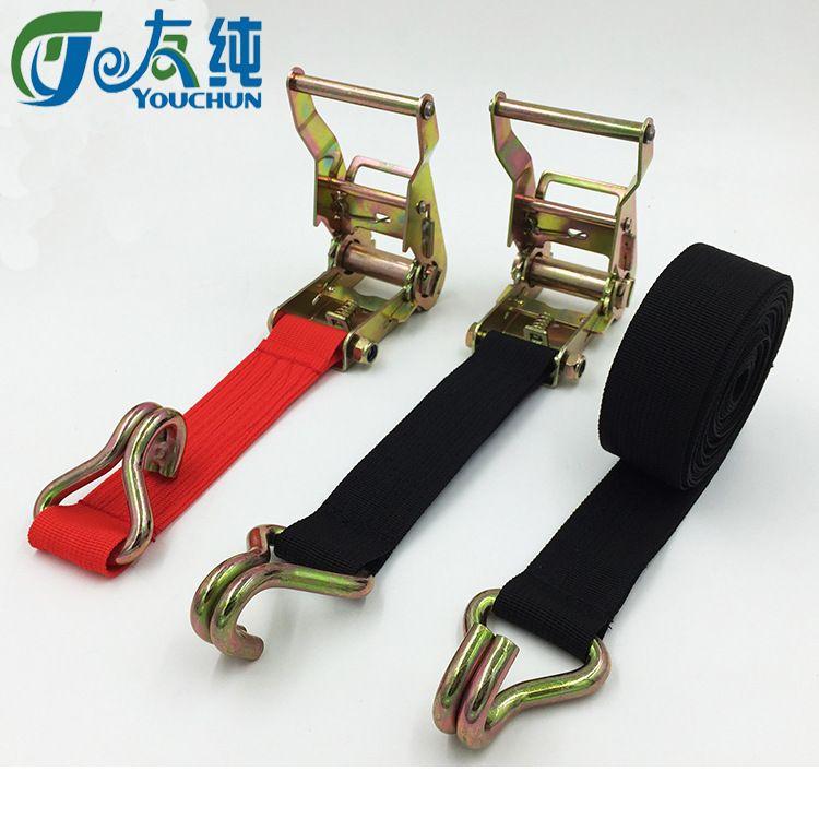 友纯 货物捆绑带拉紧器固定收紧器收绳器双钩丙纶织带簿款3.8CM