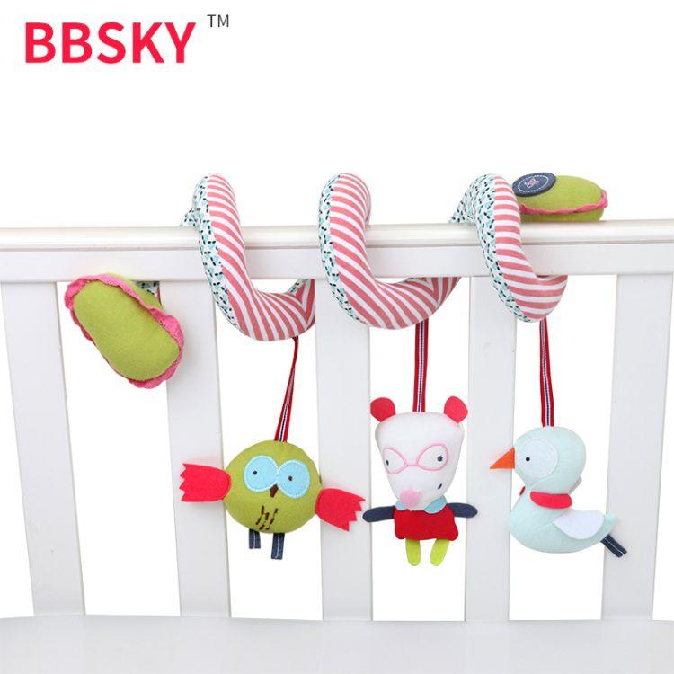 0-2婴幼儿猫头鹰动物床绕毛绒玩具多功能安抚发声车床挂件批发