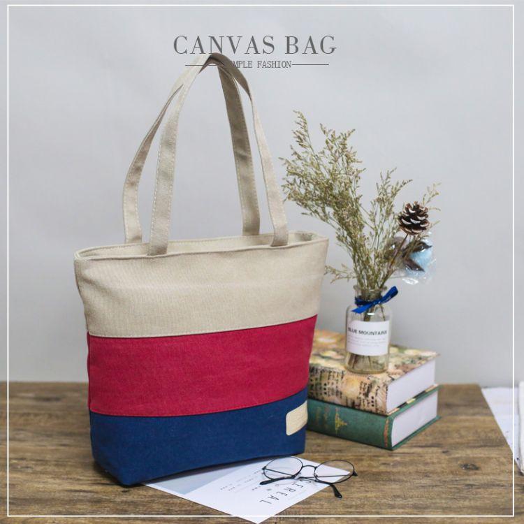 厂家定制创意帆布袋 彩色手提购物袋定做 时尚环保购物手提帆布包