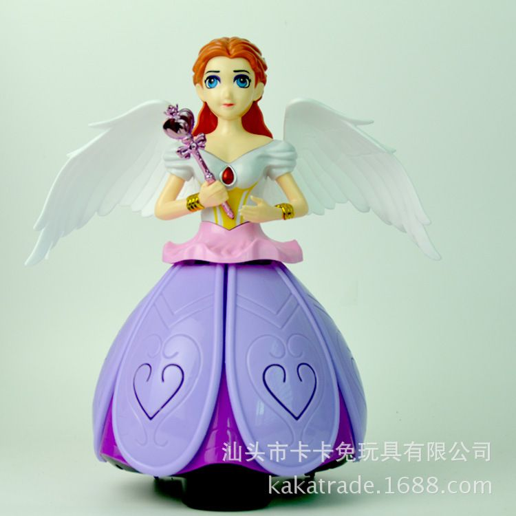 地摊热卖360度跳舞电动万向炫舞公主灯光音乐旋转天使儿童玩具