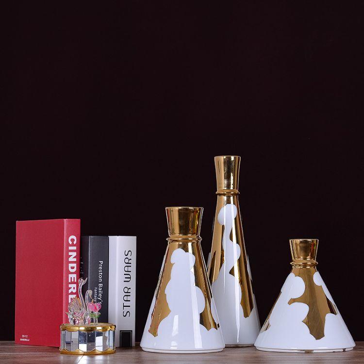北欧创意家居饰品白瓷金色圈锥形陶瓷花瓶摆件 软装艺术花瓶花插