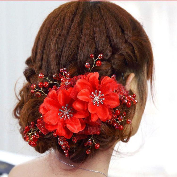 麦吉新娘头饰韩式头花 手工红白色花朵结婚礼发饰品 婚纱盘发配饰
