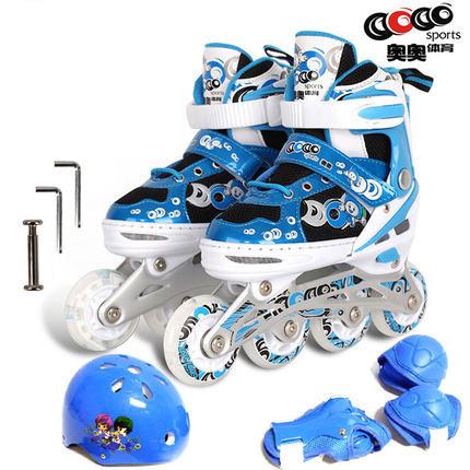 奥奥单闪溜冰鞋套装单排可调儿童男女轮滑鞋头盔护具全套旱冰鞋