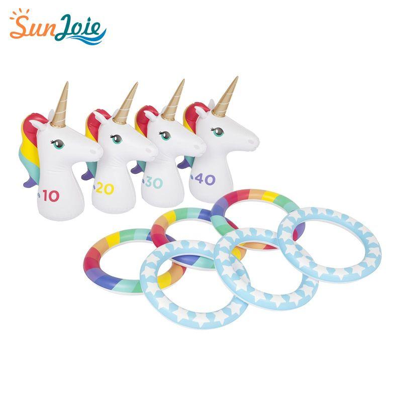 厂家定制PVC充气儿童套圈投掷玩具 独角兽充气投掷套圈