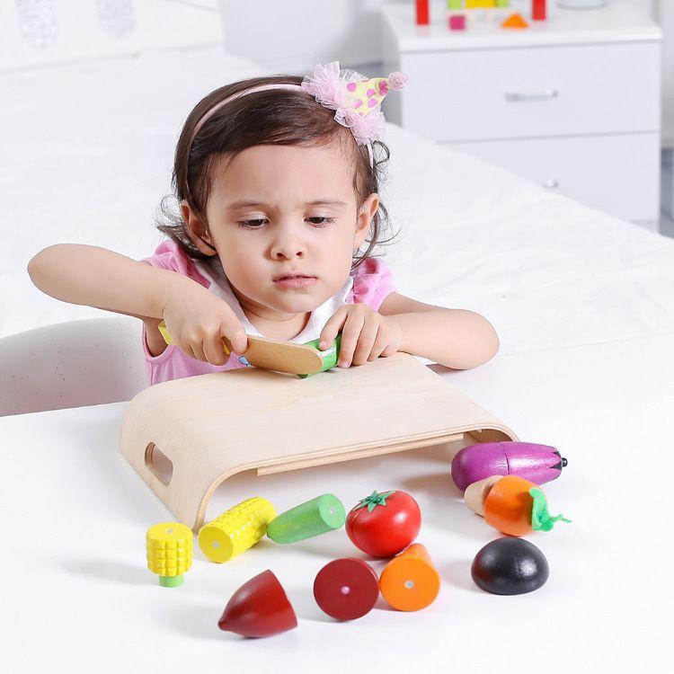 韩国梦之空间 木质蔬菜磁性水果切切乐 儿童厨房过家家木制玩具