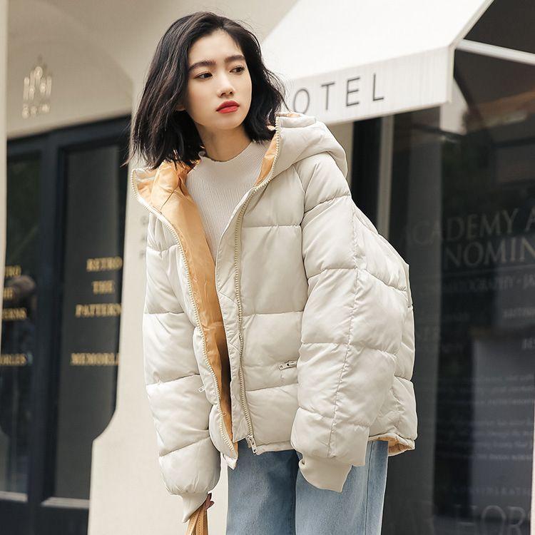 2018冬季新款韩版宽松连帽面包服加厚棉衣女百搭学生棉服短外套