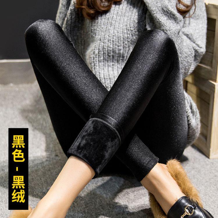 2018秋冬新款打底裤韩版外穿女士加厚加绒修身显瘦光泽裤大码女装