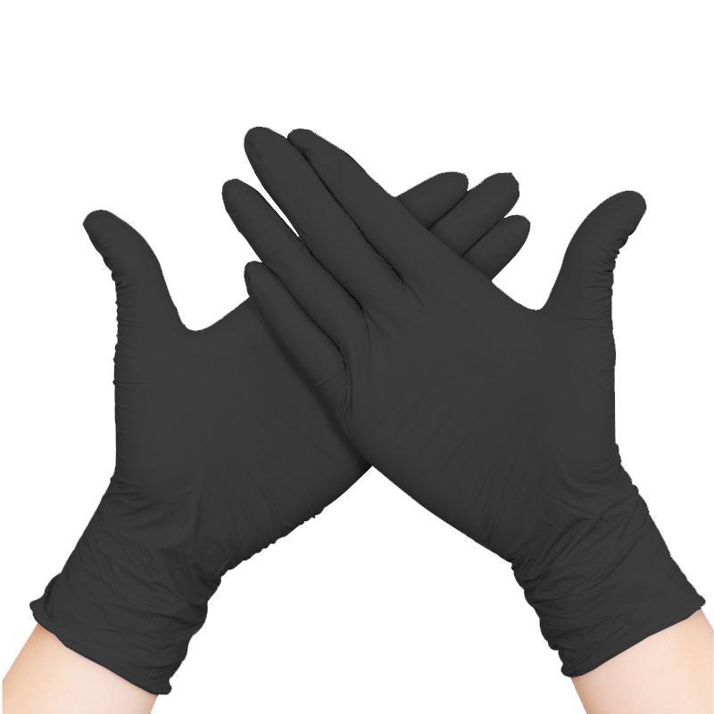 食品餐饮家务加厚劳保100只纹身防护黑色橡胶一次性手套丁晴手套