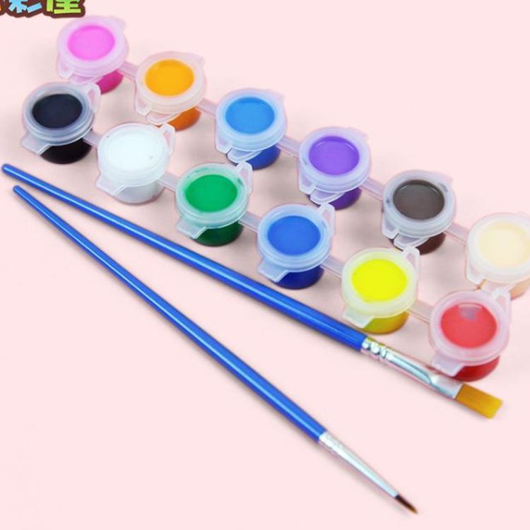 12色六连体液体丙烯水粉彩颜料涂鸦画颜料儿童绘画美甲墙绘带画笔