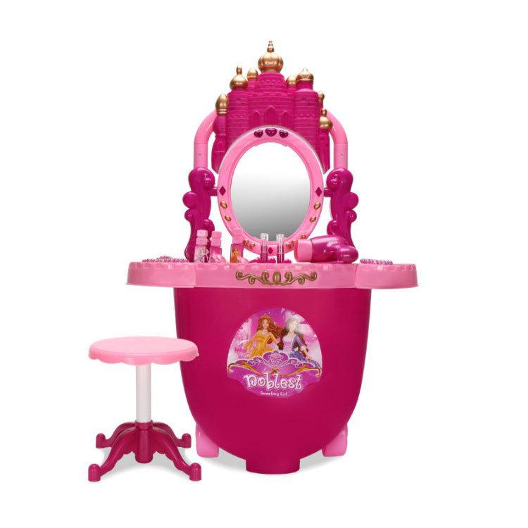 雄城217旅行箱城堡梳妆台 便捷两用公主仿真化妆台灯光音乐梳妆台