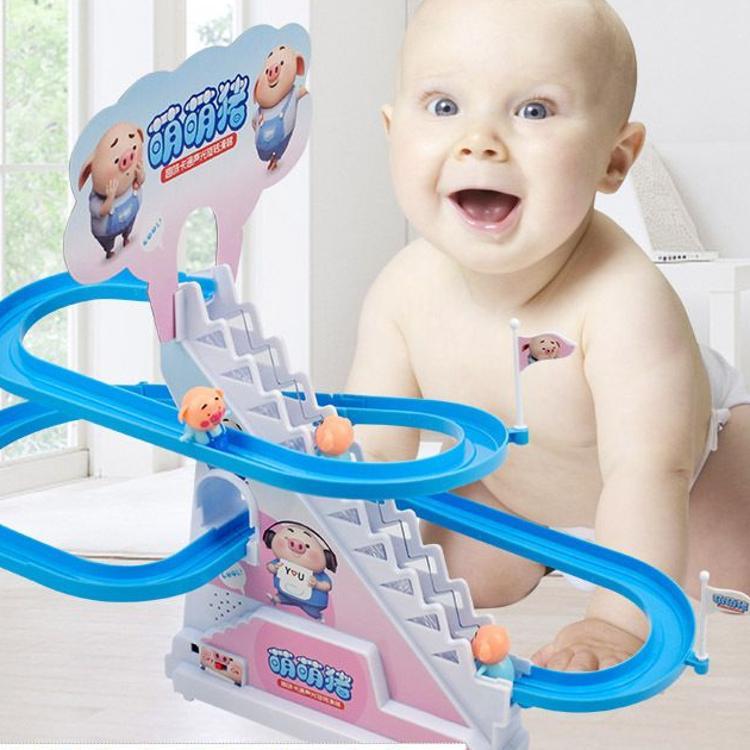 萌萌猪抖音同款小猪爬楼梯玩具社会人海草猪滑滑梯电动轨道