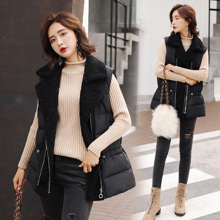 翻领羊羔毛马甲女短款韩版时尚2018新款冬季棉马夹背心外套潮